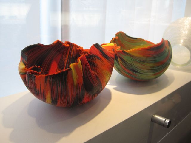 These really struck me. They're made of colored glass fibers slumped over or into a form. Beautiful, no?