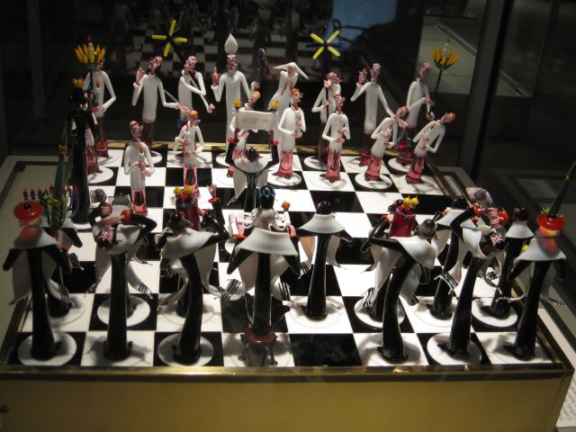 Here's a chess set made of glass.