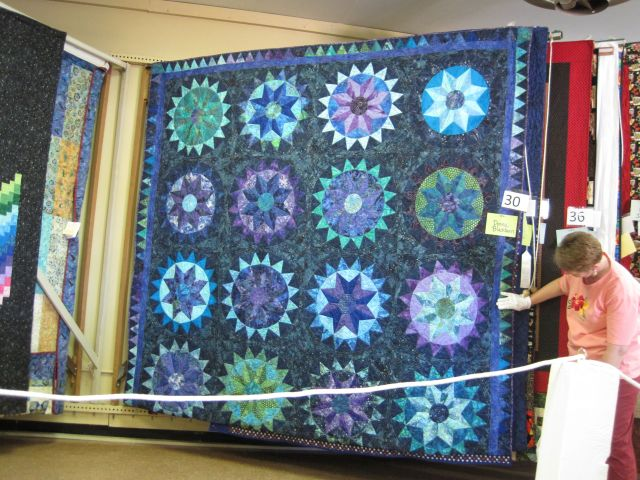 This one uses lots of medallions, each with the same piecing pattern and fabrics, but with the fabrics combined in different ways.