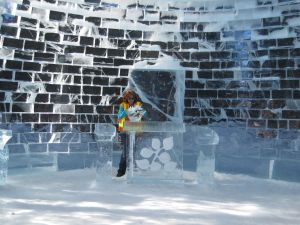 The ice chapel still shows the transparency of the ice.
