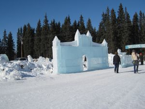 The train station show how the ice turns milky due to partial internal melting.